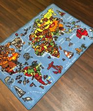 NEW WORLD MAP LEARNING SCHOOL HOME MAT RUG 80X120CM MULTICOLOUR NON SLIP